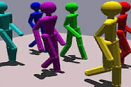computer animated figures walking