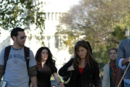 A group of students walking through Washington, D.C.